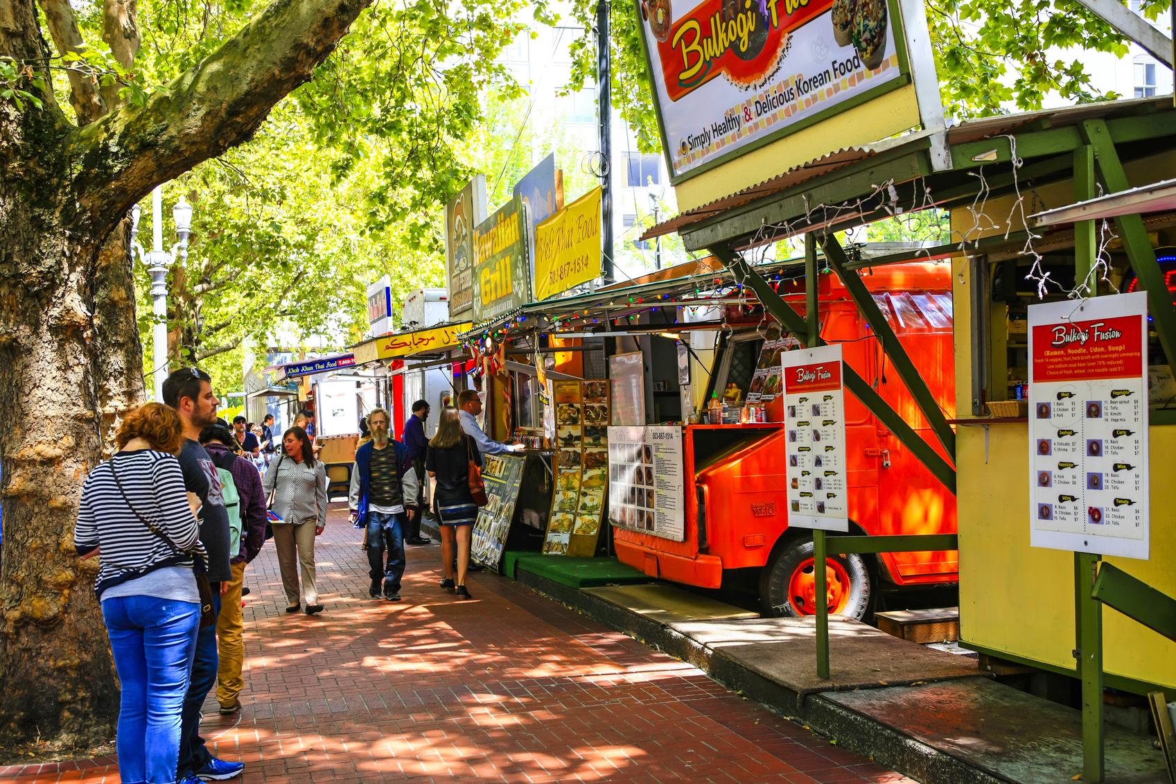 Multi-ethnic fast-food vendors in downtown Portland, Oregon