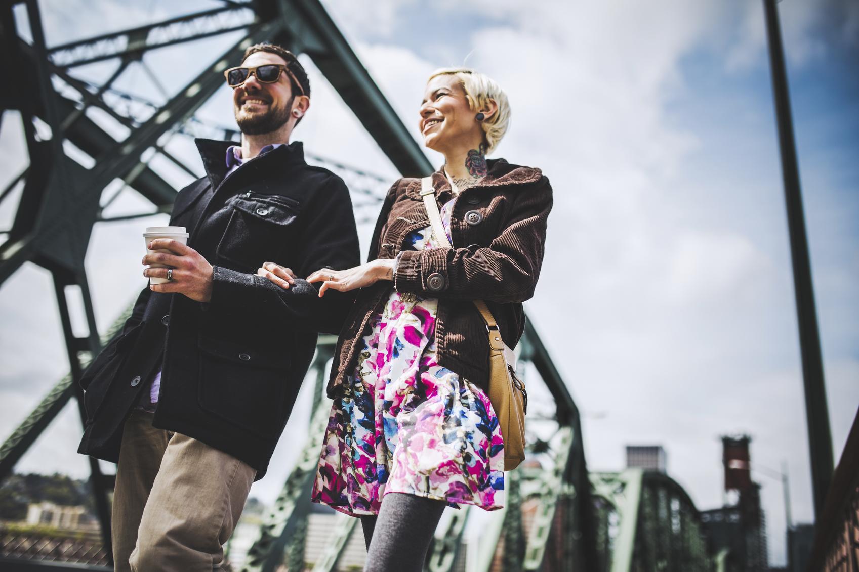 Modern Couple on Portland's Hawthorne Bridge