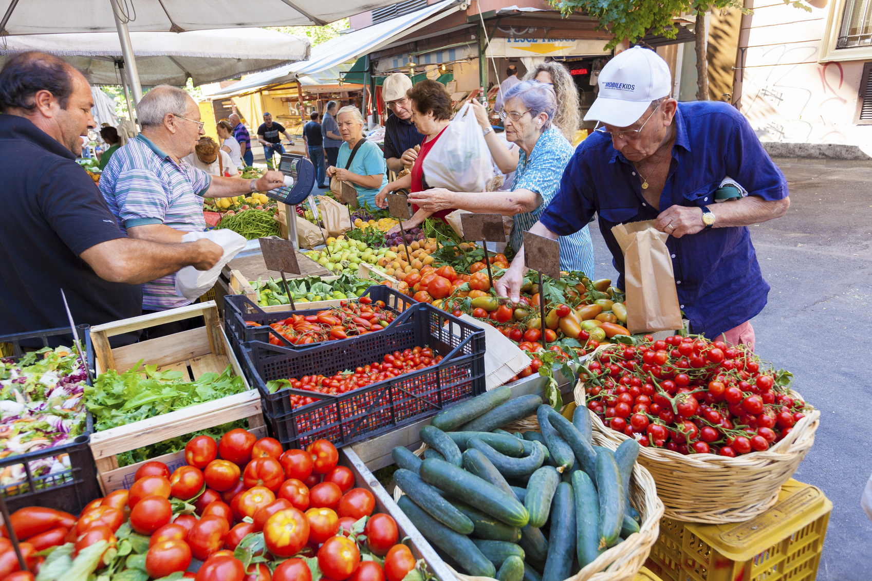 Fresh vegetables in famous outdoor market in Rome