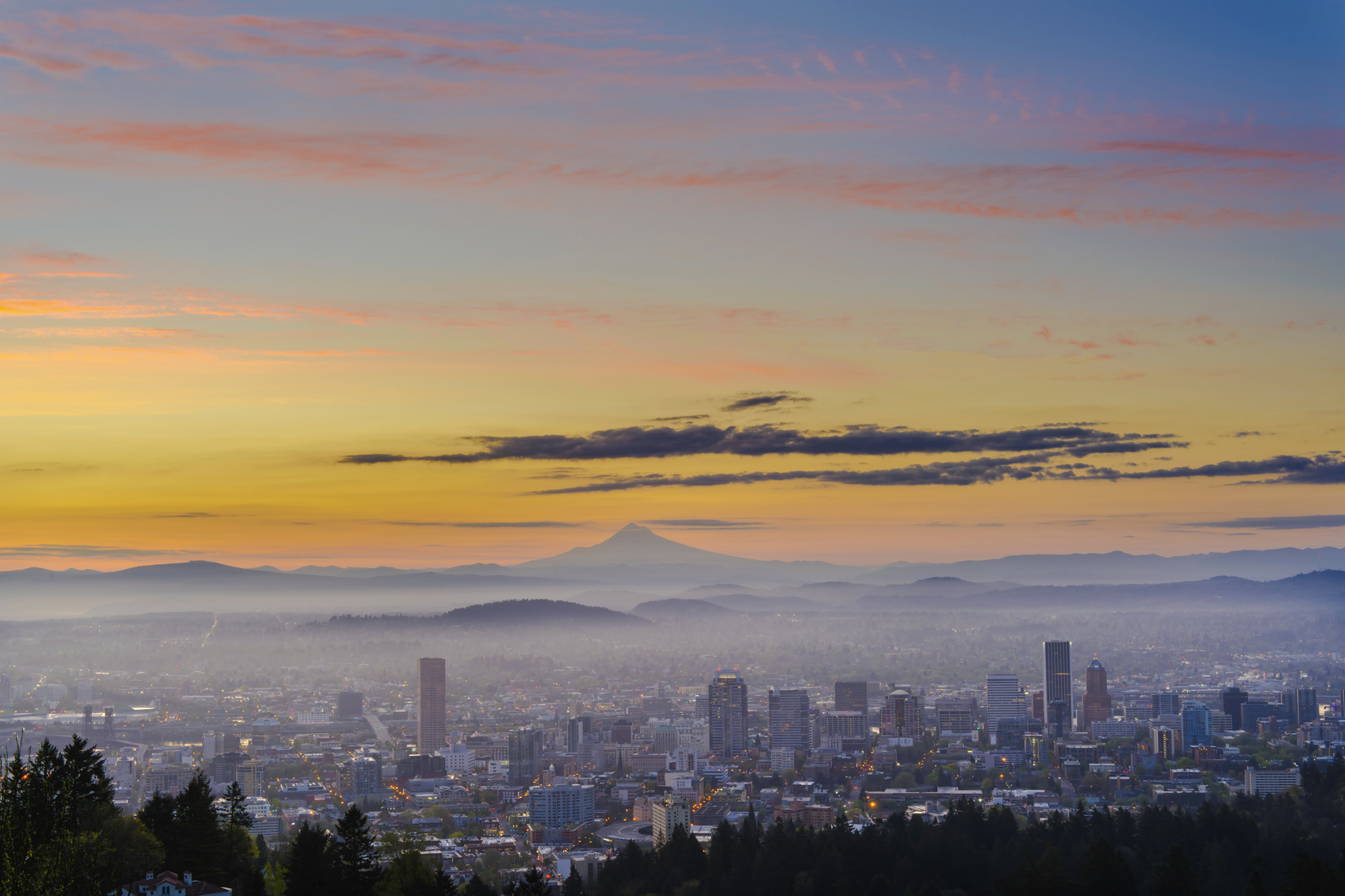 Portland Oregon at sunrise